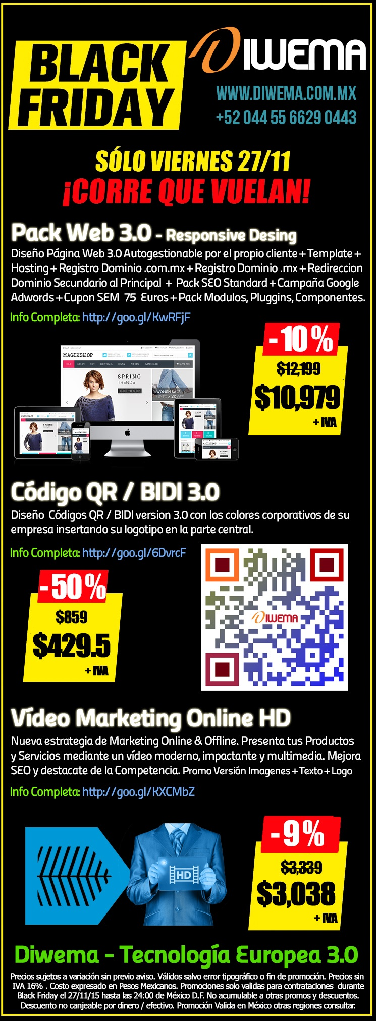 Promociones Especiales Diwema - Diseño Web, Diseño Códigos QR / BIDI, Creación Vídeo Marketing Online HD, Validas para Black Friday 27/11/2015